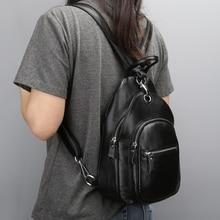 Nueva moda de cuero genuino bolsas multifuncional femeninos mochila pecho bolsa de bolsa de la escuela las niñas mochila mujeres viajan bolsas de hombro