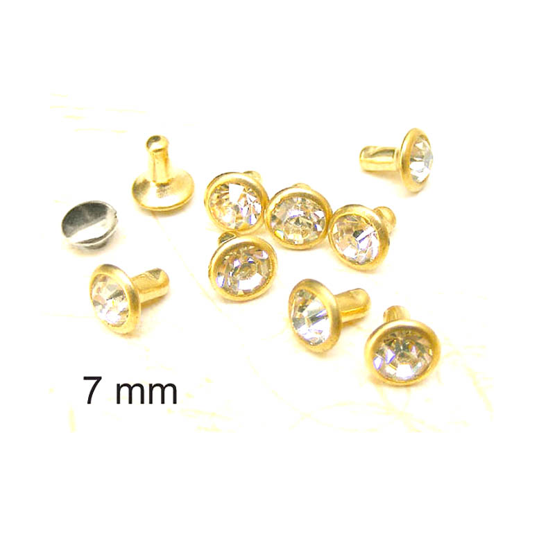 7mm clear Glass Round Rhinestone (in gold frame) Rapid Rivet Stud - a246