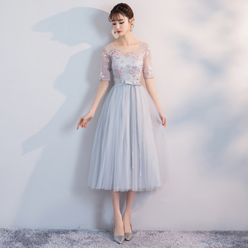 Women Wedding Party Dress Sister Wedding Party Prom Bridal Dress Plus Size O-Neck Embroidery  Even Dress Elastic Back Wholesale