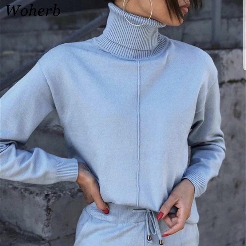 Woherb 2019 printemps survêtement de sport femmes col roulé pull + pantalon 2 pièces ensemble dames tricoté costume couleur unie 20673