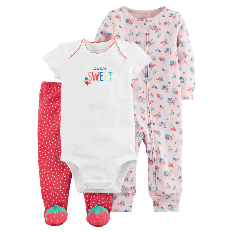 18d94efae8923 US $28.0 |Carters baby girl 3pcs sweet bodysuits floral jumpsuit strawberry  foot pants soft cotton newborn baby clothes sets 126H331-in Clothing Sets  ...