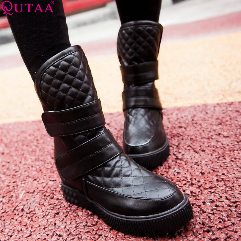 ФОТО QUTAA New Arrivals Fashion Wedge Heels Shoes Round Toe Spring Autumn Shoes Winter Style Women Ankle Boots size 34-43