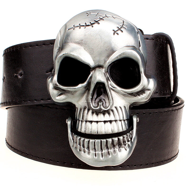 Exaggeration Men's Belt Big Skull Belt Metal Buckle Skull Belts Skeleton Men Punk Rock Belt Performance Hip Hop Girdle