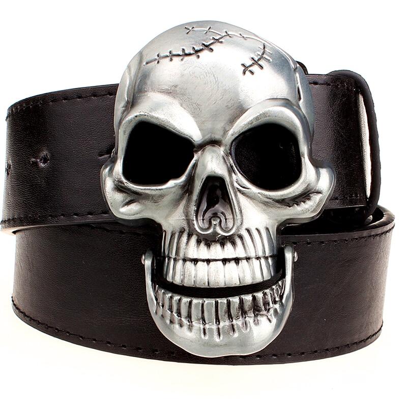 Exaggeration men's   belt   Big skull   belt   metal buckle skull   belts   Skeleton men punk rock   belt   performance hip hop girdle