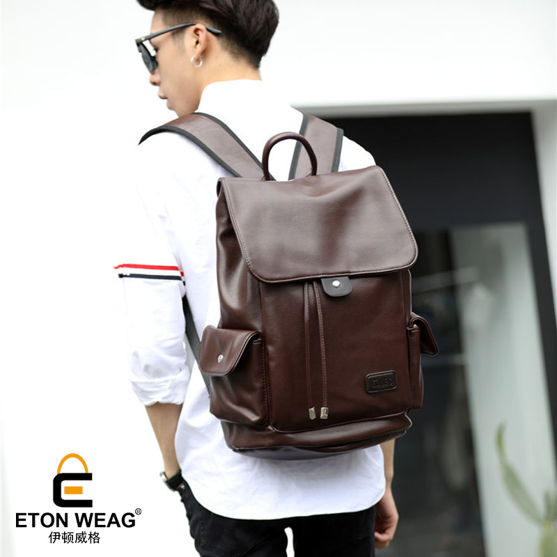 ETONWEAG Brands Leather School Backpacks For Boys Brown Vintage School Bags For Teenagers Fashion Drawstring Bag Big Laptop Bag etonweag brand cow leather backpacks for teenage girls school bags for teenagers black fashion drawstring bag vintage laptop bag