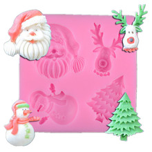 3D Silicone Christmas Series Mold DIY Fondant Mould Chocolate Cake Decorating Tool Moulds Baking Tools 3d christmas pine cones tree silicone candle soap fondant mold cake chocolate decorating baking mould tool