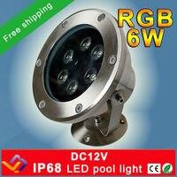 Free Shipping 10pcs Lot RGB LED Pool Light IP68 DC12V 6W Stainless Steel LED Underwater Light