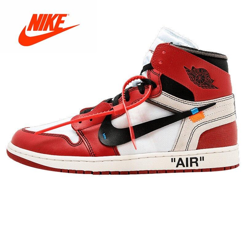 Оригинальный Новое поступление Аутентичные Nike Air Jordan 1 X Off White AJ1 L Ограниченная серия limited Для мужчин Мужская Баскетбольная обувь кроссовки