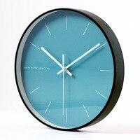 Nordic Decorative Simple Blue Printing Metal Wall Clocks Silent Quartz Circular Metal Hanging Clock Modern Design Home Decor