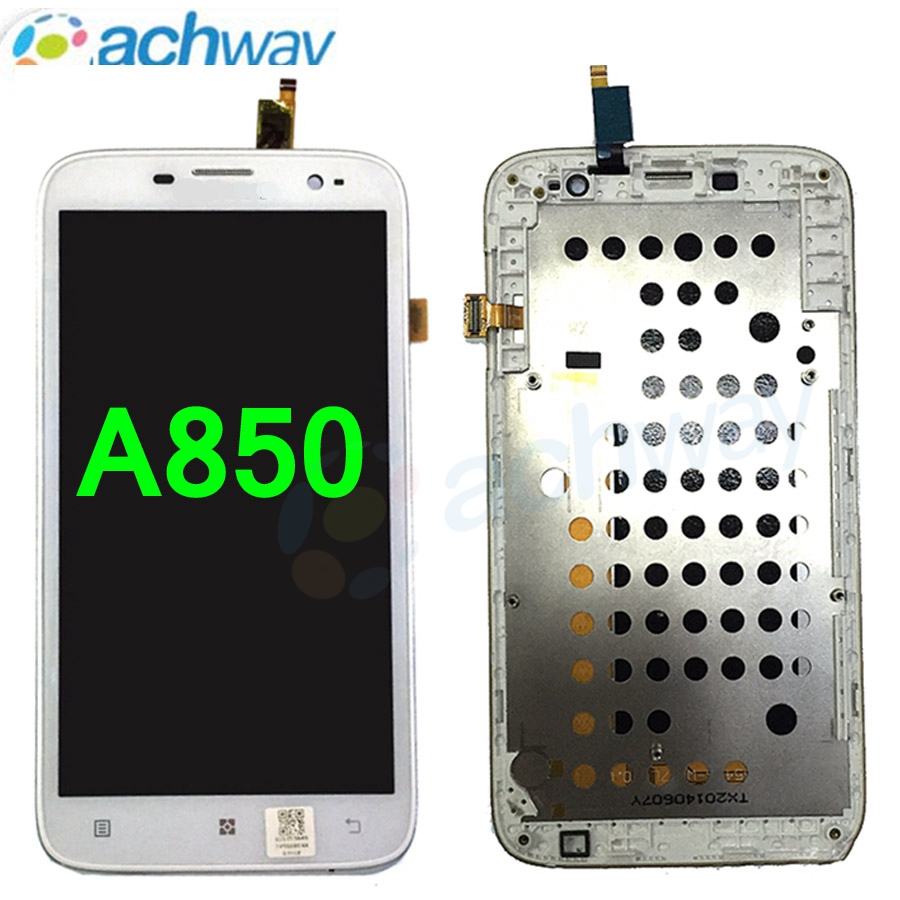 100 Tested 55 For Lenovo A850 LCD Display Touch Screen Digitizer Assembly With Frame Replacement