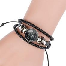 Hot New Game of Thrones Bracelet Cosplay Costumes Badge Stark Direwolf 9 Family Logo Black Gem Leather Small Gift