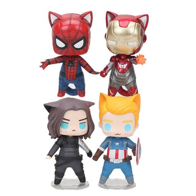 8 cm q versão Superhero figura brinquedos Vingadores Capitão América Soldado Inverno Homem Aranha homem de ferro Ação PVC Figuras de Brinquedo