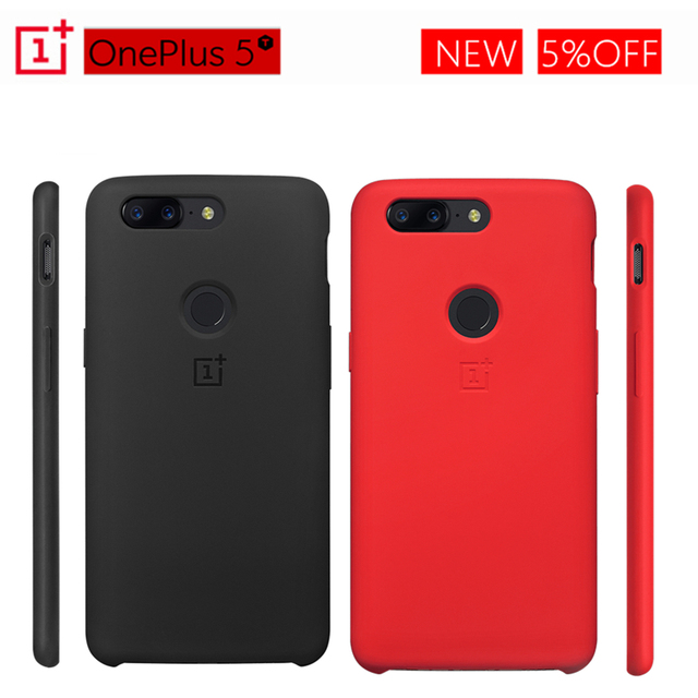 buy online 1ddfd ce595 US $27.16 5% OFF|Official Cover OnePlus 5T Silicone Protective Case  Original Black Red Oneplus5T Silicone Case One Plus 5T PC Hard Back  Shield-in ...