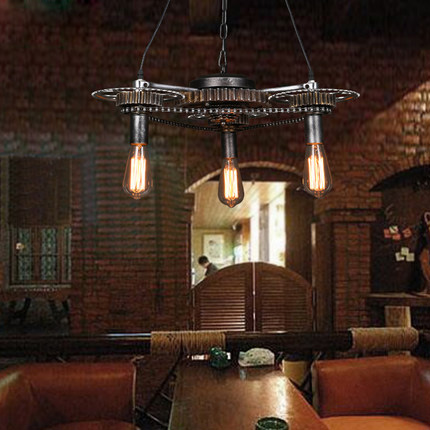 Loft Style Pendant Lamp Wrought Iron Vintage Pendant Light Restaurant Creative Gear Edison Light Fixtures Bar Art Deco Lighting american loft vintage pendant light wrought iron retro hanging lamp edison nordic restaurant light industrial lighting fixtures