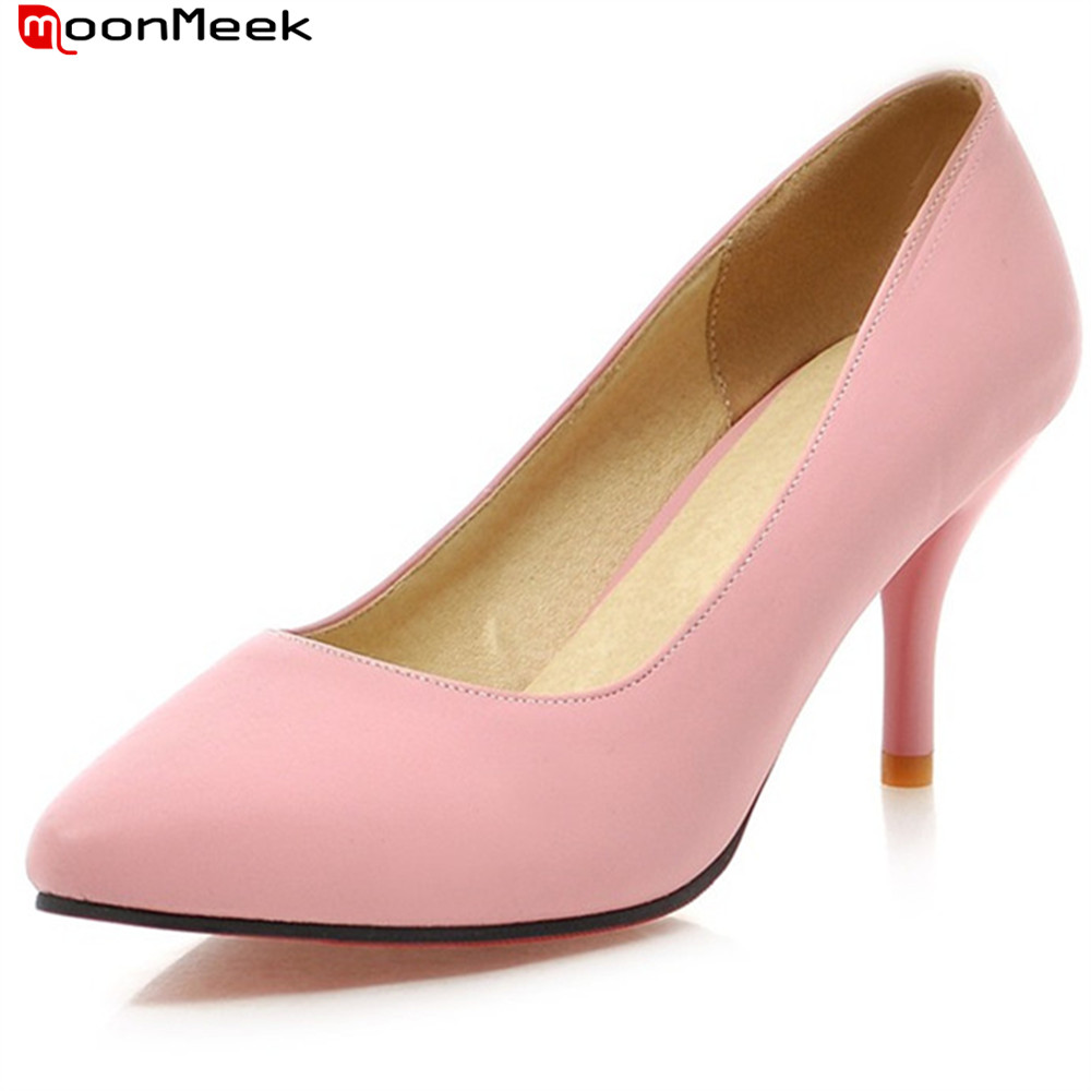 MoonMeek 2018 thin heels pumps women shoes shallow high heel slip on casual dress pointed toe party wedding shoes ladies shoes white lace embroider women shoes slip on high heels glaze surface metal thin heel pumps female wedding dress shoes pointed toe