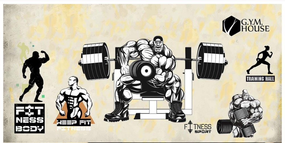 3D wall murals wallpaper custom picture mural Gym wallpaper Sports room Gym muscular male dumbbell puzzle vector background wall