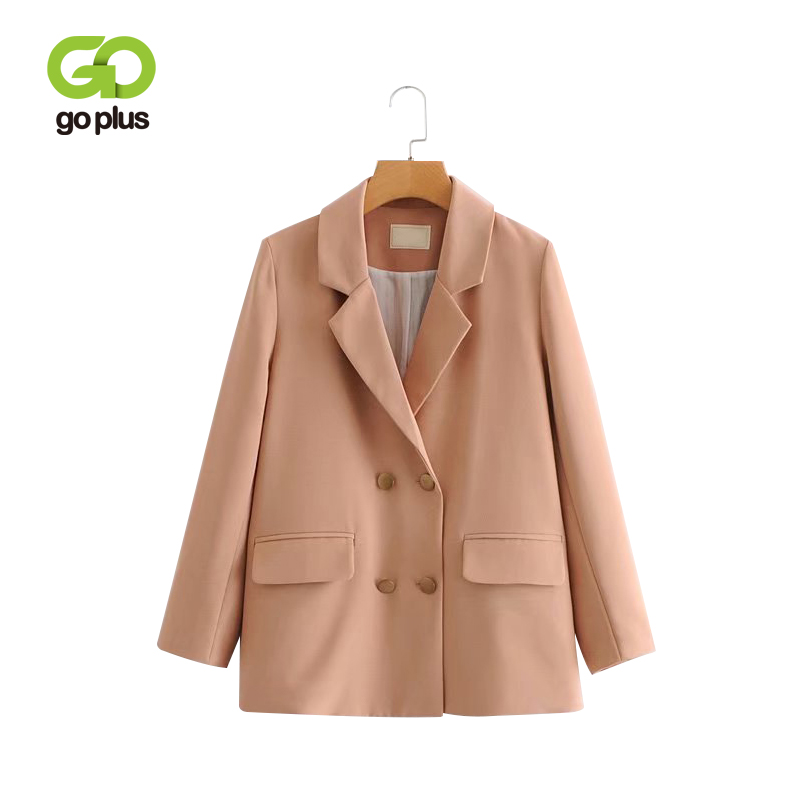 GOPLUS 2019 Women Double Breasted Plaid Blazer Long Sleeve Office Jacket Female High Quality Spring Casual Elegant Coats C7185