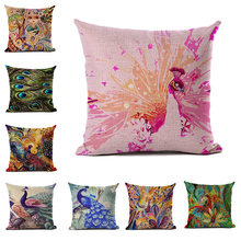 Watercolor Series Linen and Polyester Cushion Cover Chinese Style Peacock Feather Pattern Pillowcase Western Sofa Decoration цена 2017
