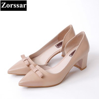Zorssar Fashion Butterfly Knot Real Leather Womens Pumps Heels Pointed Toe High Heels Women Wedding