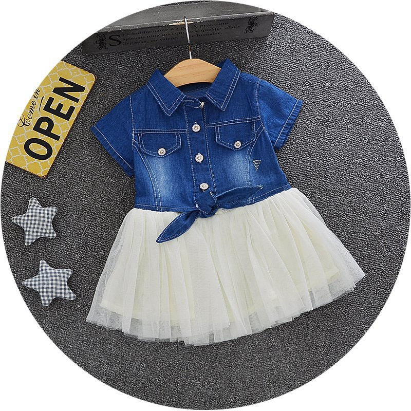 Summer Baby Girls Short Sleeve Lapel Collar Patchwork Mesh Tutu Princess Party Ball Gown Denim Jeans