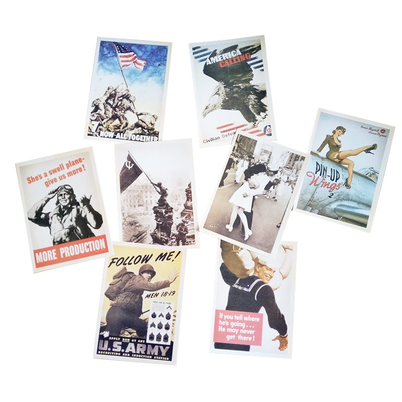 32 Pcs/pack Vintage Style WW2 Military Theme Postcards Gift Greeting Cards  Classic Posters Christmas Gift-in Business Cards from Office & School