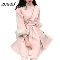 RUGOD High Quality Elegant Winter Dress 2018 Office Dress For Women Turtleneck Fur Flare Sleeve Belted Pink Dress Women Vestidos