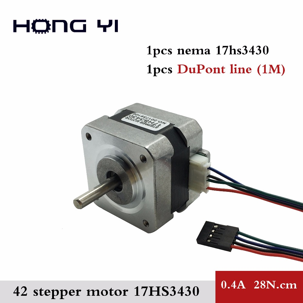 Free shipping 1PCS 17HS3430 3D Printer Nema17 for 12VDC, 2800g.cm, 34mm length, 4-Lead, 42 motor Stepper Motor with DuPont line flsun 3d printer big pulley kossel 3d printer with one roll filament sd card fast shipping