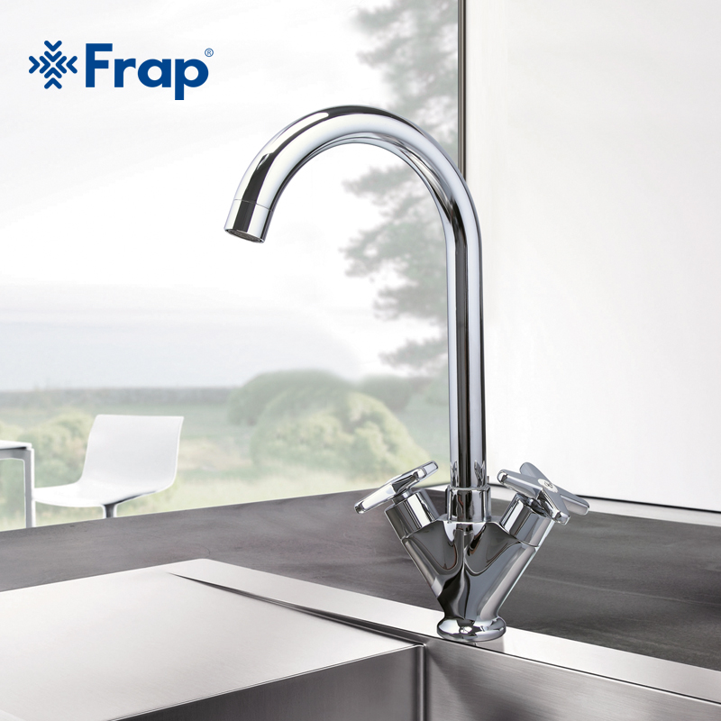 Frap Simple Style Dual Handle Cold and hot Water Mixer Tap Kitchen Faucet Outlet Pipe of