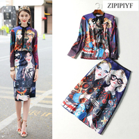 ZIPIPIYF High Quality 2018 Runway Fashion Full Sleeve Cartoon Print Shirt Slim Knee Length A Line