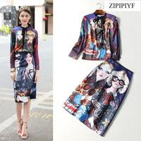 ZIPIPIYF High Quality 2018 Runway Fashion Full Sleeve Cartoon Print Shirt Slim Knee Length A Line