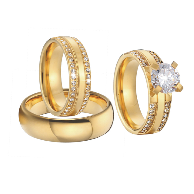 Luxury Wedding band Couple Rings gold color 3 pieces Alliances jewelry anniversary Bridal sets Engagement Rings for women