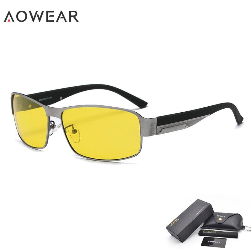 AOWEAR Hd очки для вождения с ночным видением, желтые солнцезащитные очки, мужские поляризованные очки для ночного вождения, очки для вождения, снижают ослепление - Цвет линз: 2 Gray Night Vision