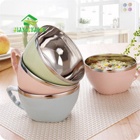 1 Pc 304 Stainless Steel Japanese Rice Soup Noodle Bowl With Handle Lid Food Salad Fruit Storage Container Leak Proof Box Cup