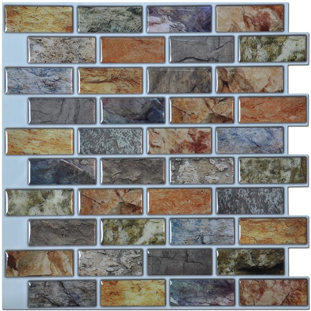 Wall Tile For Kitchen Sink Base 3d Sticker Peel And Stick Tiles Backsplash 12in X Resin Paper 6 Pack
