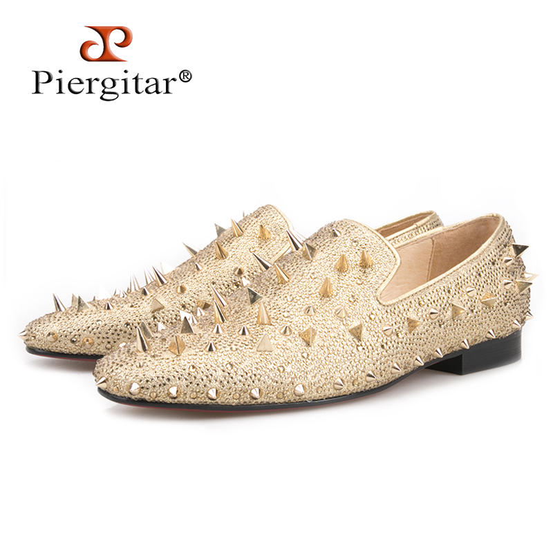 Piergitar 2018 new fashion Two colors Genuine leather Men shoes with long Spikes prom and banquet