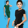 S-4XL Mulheres Novas Blazers Ternos Moda Verão Sólido Temperamento Curto-manga + Saia Ternos Formais OL desgaste do Trabalho conjuntos