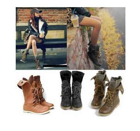 Asumer Artı Boyutu Moda Motosiklet yarım çizmeler Kadınlar için Kış Kar Botları Pu Deri Çizmeler Flats ayakkabı siyah kahverengi