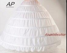 ANGELSBRIDEP ใหม่ 6 Hoops Petticoats คึกคักสำหรับ Ball ชุดแต่งงานชุดกระโปรงเจ้าสาวเจ้าสาว Crinolines
