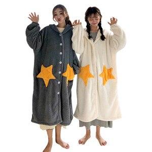 Image 3 - 가을 겨울 여성 긴 소매 잠옷 후드 플란넬 잠옷 여자 나이트 드레스 잠옷 귀여운 공주 산호 양털 wz619
