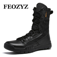 FEOZYZ 2017 New Hiking Boots High Top Leather Hiking Shoes Mens Army Combat Boots Breathable Mountain