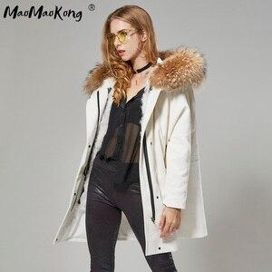 Image 4 - MaoMaoKong Long Corduroy winter faux fur lining jacket coat Women parka fur coat Corduroy real raccoon fur collar warm parkas