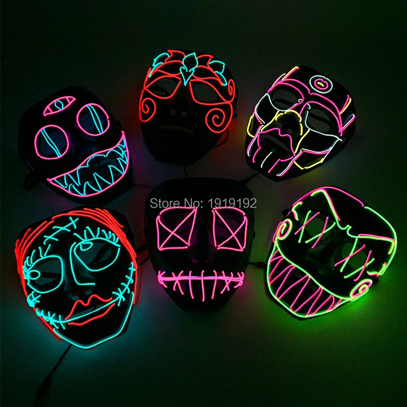 2018 New Style EL Mask Energy saving Colorful Select el wire mask by 3V Steady on For Halloween holiday Party Mask Decoration