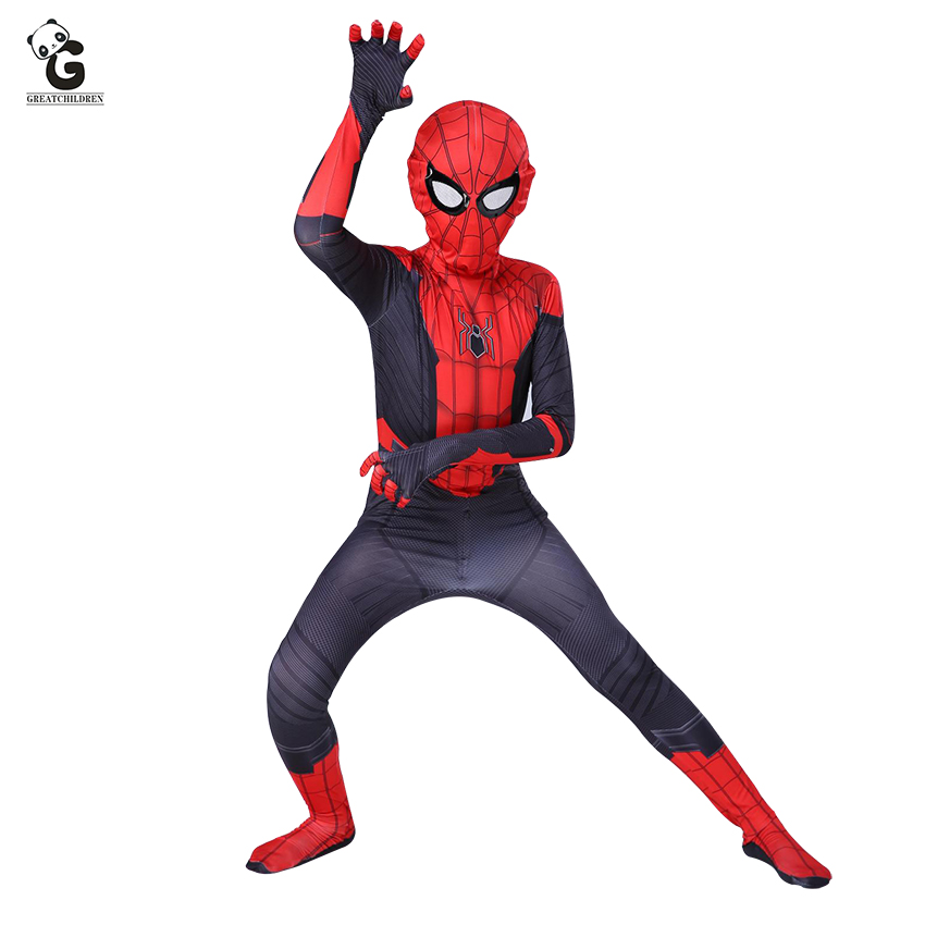Christmas Party Boys Iron Spiderman Costume Kids Superhero Cosplay Fancy Dress