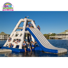 Outdoor commercial giant inflatable used water park slide inflatable floating slide for sale outdoor commercial use giant inflatable double lane water slide with arch