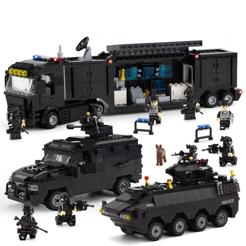 437pcs Early Education Puzzle DIY Toy Blocks Compatible Legoings City Special Police Series Series Armored Vehicle Boys Gifts