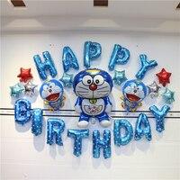 Kids Birthday Party Decoration Ideas Baby Shower Boy Doraemon Theme Supply Blue Happy Birthday Letter Decor