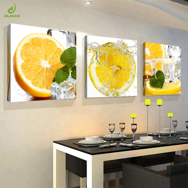 JHLJIAJUN Canvas Painting 3pcs Restaurant Half Orange Fruits Wall ...