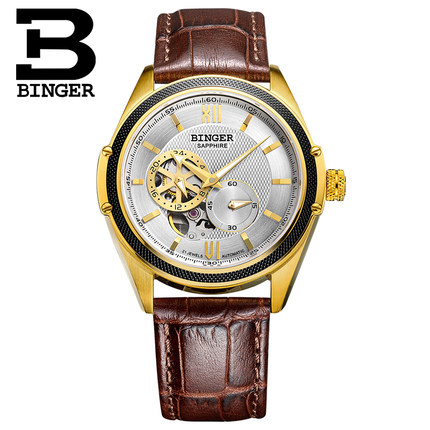 Binger Men Mechanical Watches Luxury Brand Automatic Gold Tourbillon Male Complete Calendar Clock Wrist Watch relogio masculino forsining tourbillon designer month day date display men watch luxury brand automatic men big face watches gold watch men clock