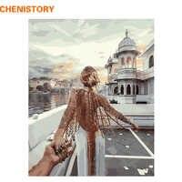 CHENISTORY Frame 60x75 картина романтическая DIY картина по номерам Современная Настенная живопись ручная роспись маслом на холсте для домашнего деко...