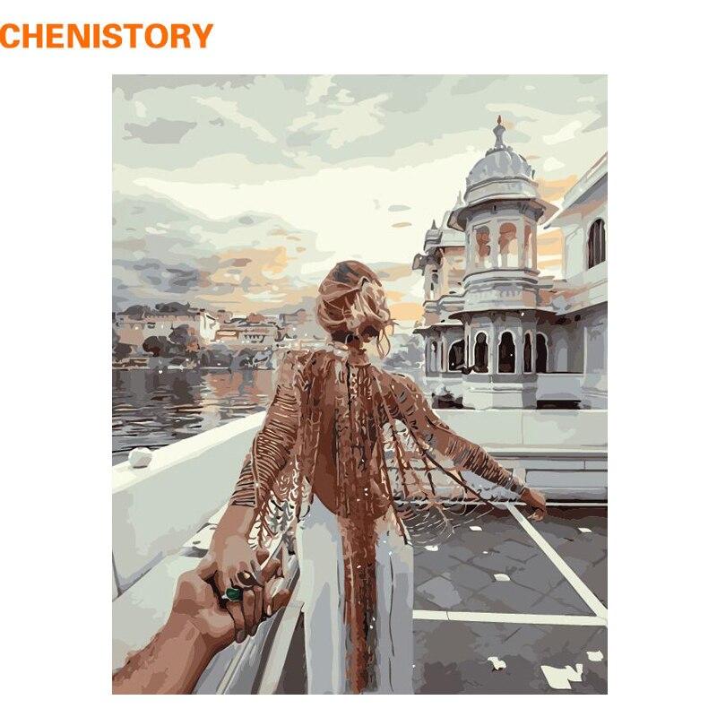 CHENISTORY Frameless Immagine Romantica Pittura di DIY Dai Numeri Moderna di Arte Della Parete Dipinto Ad Olio Su Tela Per La Decorazione Domestica